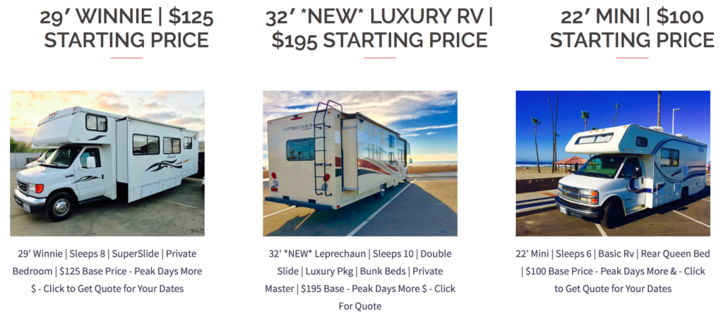Rv Rental Prices in San Diego
