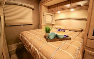 Inside view of RV showing sleeping area