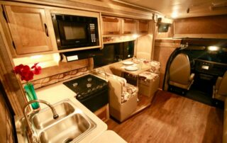 Inside view of RV showing kitchen