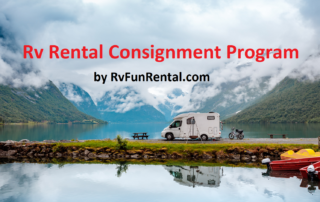 RV consignment promo with picture of RV and water
